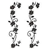 4pcs Wandtattoo Blumenranken Schwarz Blumen Hibiskus Wandtattoo Wanddeko Blumenranke Aufkleber Sticker Wandaufkleber Hintergrund für Schlafzimmer Zuhause Dekoration Wohnzimmer