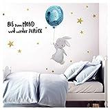 Little Deco Wandtattoo Bis zum Mond & Hase mit Luftballon I 174 x 102 cm (BxH) I Kinderzimmer Babyzimmer Aufkleber Sticker Wandaufkleber Wandsticker Kinder DL133
