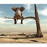 murando Fototapete Elefant auf dem Baum 350x256 cm Vlies Tapeten Wandtapete XXL Moderne Wanddeko Design Wand Dekoration Wohnzimmer Schlafzimmer Büro Flur Wüste Tier Abstrakt Natur Himmel g-B-0033-a-a