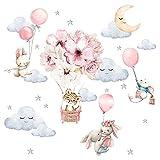 Little Deco Wandtattoo Wandsticker Kinderzimmer Mädchen Baby Löwe Safari Wandaufkleber Hase Tiere Spielzimmer Wanddeko Ballon Babyzimmer Wandbild Kinder DL696-2