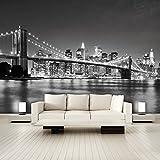 murimage Fototapete New York schwarz weiß 366 x 254 cm inklusive Kleister Manhattan USA Amerika Skyline Brücke schwarzweiß