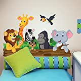 R00145 Wandaufkleber Tiere Dschungel Savannah Wanddekoration Kinderzimmer Kindergarten Nest Schlafzimmer - Klebepapier stoffeffekt