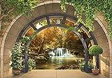 Forwall Fototapete 3D Fenster Wasserfall Wald Natur Ausblick Wohnzimmer Schlafzimmer Vlies Tapete Wandtapete UV-Beständig Hohe Auflösung Montagefertig (11553, V8 (368x254 cm) 4 Bahnen)