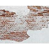Fototapeten 396 x 280 cm Steinwand | Vlies Wanddekoration Wohnzimmer Schlafzimmer | Deutsche Manufaktur | Weiss Braun 9083012a