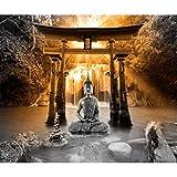 decomonkey Fototapete selbstklebend Buddha 392x280 cm XL Selbstklebende Tapeten Wand Fototapeten Tapete Wandtapete klebend Klebefolie Zen Orient Wasserfall Natur
