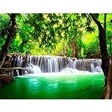 Fototapeten 396 x 280 cm Wasserfall Natur | Vlies Wanddekoration Wohnzimmer Schlafzimmer | Deutsche Manufaktur | Grün Weiss 9006012a