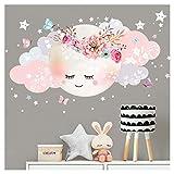 Little Deco Wandsticker Mond & Wolken I Weiß/Rosa L - 60 x 31 cm (BxH) I Kinderzimmer Wandtattoo Mädchen Baby Deko Zimmer DL246-1-L