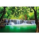 GREAT ART® Fototapete – Wasserfall Feng Shui – Wandbild Dekoration Natur Dschungel Landschaft Paradies Urlaub Thailand Asien Wellness Spa Relax Foto-Tapete Wandtapete Fotoposter (210 x 140 cm)