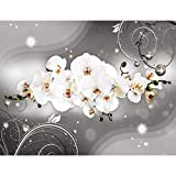 Fototapeten 396 x 280 cm Blumen Orchidee | Vlies Wanddekoration Wohnzimmer Schlafzimmer | Deutsche Manufaktur | Schwarz Weiss 9234012b