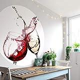 große Fototapete Küche Vliestapete Rund Weingläser Fotografie Rotwein trifft auf Weißwein Weinspritzer Esszimmer inkl. Schablone Ø140 cm