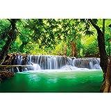 GREAT ART Fototapete – Wasserfall Feng Shui – Wandbild Dekoration Natur Dschungel Landschaft Paradies Urlaub Thailand Asien Wellness Spa Relax Foto-Tapete Wandtapete (336 x 238cm)