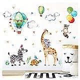 Little Deco Wandaufkleber Safariparty I Wandbild XL - 193 x 135 cm (BxH) I Giraffe Zebra Wandtattoo Mädchen Kinderzimmer Aufkleber Junge Deko Sticker Babyzimmer DL313