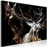 murando - Bilder Hirsch 120x80 cm Vlies Leinwandbild 1 TLG Kunstdruck modern Wandbilder XXL Wanddekoration Design Wand Bild - Tier Abstrakt schwarz golden g-C-0329-b-a