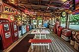 VLIES Fototapete-VINTAGE DINER-(2805s)-300x223 cm-Essen Trinken Bar Flaschen Restaurant Retro Route 66 Tankstelle USA Landschaft Wandbild Wandtatoo Poster Moderne Tapete