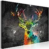 murando - Bilder Tier 120x80 cm Vlies Leinwandbild 1 TLG Kunstdruck modern Wandbilder XXL Wanddekoration Design Wand Bild - Hirsch bunt g-A-0241-b-a