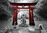 decomonkey Fototapete Buddha 150x105 cm Design Tapete Fototapeten Vlies Tapeten Vliestapete Wandtapete moderne Wand Schlafzimmer Wohnzimmer Zen Orient Wasserfall Natur