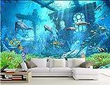 3D Raum Tapete Benutzerdefinierte Wandbild Vlies Unterwasser Reliquien Delfine Dekoration Malerei Fototapete Für Wände 140(l) x100(H) cm