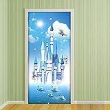 QHOXAI Türaufkleber Selbstklebendes Türbild Kinderzimmer 3D Cartoon Schloss Schwan See 77X200Cm - Fototapete Türfolie Poster Tapete Wasserdicht Abnehmbare Wandbilder Für Schlafzimmer Wohnzimmer