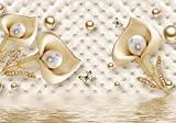 wandmotiv24 Fototapete Gold Tulpen Edelstein Perlen Polsterwand, XXL 400 x 280 cm - 8 Teile, Fototapeten, Wandbild, Motivtapeten, Vlies-Tapeten, Blumen Diamanten Schmetterlinge Wasser M4643