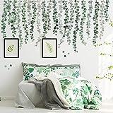 3 Blätter Grüne Pflanzen Eukalyptus Rebe Blätter Wandtattoo Abnehmbare Aquarell Wandkunst Dekor Schälen and Stock Wandaufkleber Kunst Wandgemälde Dekoration für Kindergarten Wohnzimmer