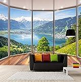 Fototapete 3D Effekt Tapete Fototapeten Vliestapete Wandtapete Moderne Wandbild Wand Schlafzimmer Wohnzimmer 3D Balkon Blick Auf Die Berge,400x280cm