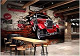 Wxlsl Benutzerdefinierte Wandbild 3D Fototapete Oldtimer Auto Gebrochen Wand Hintergrund Dekor Malerei 3D Wandbilder Tapete-300cmx210cm