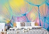 Regenbogen-Löwenzahn Vlies Fototapete Fotomural - Wandbild - Tapete - 312cm x 219cm / 3 Teilig - Gedrückt auf 130gsm Vlies - 582VEXXL - Pusteblumen & Schmetterlinge