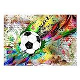 decomonkey Fototapete Graffiti Fußball 350x256 cm XL Tapete Fototapeten Vlies Tapeten Vliestapete Wandtapete moderne Wandbild Wand Schlafzimmer Wohnzimmer Ziegel Jugendzimmer Ball