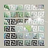 SUNIY 32 Stück abnehmbare Acrylspiegel Einstellung Wandaufkleber Aufkleber geometrische griechische Schlüsselmuster für zu Hause Wohnzimmer Schlafzimmer Dekor (Silber)