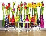 Forwall Fototapete Blue Back Tapete Tulpen Blumen - Rosa Grün Frühling Natur Flaschen Bunt Fototapeten Wandtapete moderne Wandbild Wand Schlafzimmer Wohnzimmer 2143P8 368cm x 254cm