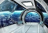 wandmotiv24 Fototapete Raumschiff Raumerweiterung Weltall, XXL 400 x 280 cm - 8 Teile, Fototapeten, Wandbild, Motivtapeten, Vlies-Tapeten, Erde 3D Effekt Korridor Flur M6491