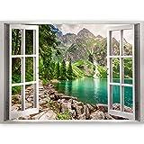 murando 3D WANDILLUSION Wandbild Gebirge See Fototapete Poster XXL Fensterblick Vlies Leinwand Panorama Bilder Dekoration Wald Natur Landschaft 140x100 cm c-B-0209-c-a