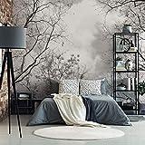Wald Fototapete Baumkronen im Himmel Natur Klebebilder für die Wand Tapete schwarz weiß Fotografie Wall-Art - 384x260 cm