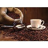 Vlies Fototapete 350x245 cm PREMIUM PLUS Wand Foto Tapete Wand Bild Vliestapete - Kaffee Tapete Kaffeetasse Kaffeebohnen Sach Tasse Löffel Bohne Schaufel Holzwand braun - no. 866