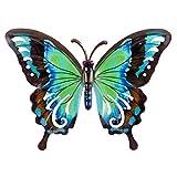 CIM Metall Wand-Deko - Schmetterling Türkis - 27cm x 20cm - tierische 3D Wandbilder - Wandschmuck inkl. praktischer Wandbefestigung - Lebhafte Wandskulptur - Geschenkidee