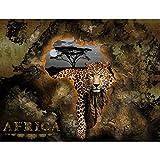 Fototapete Afrika Leopard 352 x 250 cm Vlies Tapeten Wandtapete XXL Moderne Wanddeko Wohnzimmer Schlafzimmer Büro Flur Braun 9447011a