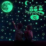 MMTX Sternenhimmel Leuchtsterne Kinderzimmer, 508 Sterne Mond Leuchtsterne selbstklebend Eule DIY Wandaufkleber für Wanddeko Kinder Schlafzimmer Jungen Mädchen