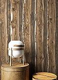 Holztapete in Braun Beige | schöne edle Tapete im Natur-Holz Design | moderne 3D Optik für Wohnzimmer, Schlafzimmer oder Küche inklusive der Newroom-Tapezier-Profibroschüre mit Tipps für perfekteWände