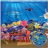 GREAT ART® Fototapete – Aquarium Wandbild – Dekoration farbenfrohe Unterwasserwelt Meeresbewohner Ozean Fische Delphin Korallen-Riff Clownfisch Foto-Tapete Wandtapete Fotoposter (336 x 236 cm)