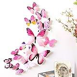 3D Schmetterlingsaufkleber 12 Stück Wandaufkleber Wandsticker Deko für Kleinkinderzimmer, Wohnzimmer, Wohnung, Balkon, PVC Butterfly Wanddeko Wandtatoo Stickrs, 3 Größenkombinationen
