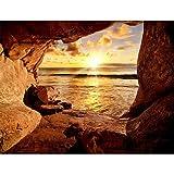Fototapete Schlucht Strand Sonnenuntergang 352 x 250 cm Vlies Tapeten Wandtapete XXL Moderne Wanddeko Wohnzimmer Schlafzimmer Büro Flur Braun Orange 9071011a