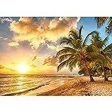 Vlies Fototapete 350x245 cm PREMIUM PLUS Wand Foto Tapete Wand Bild Vliestapete - DREAM BEACH - Strand Meer Sonnenaufgang Beach Wasser Blau Himmel Sonne Sommer - no. 042