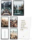 Heimlich® Premium Poster Set OHNE Bilderrahmen   Stilvolles Set mit passenden Bilder als Wohnzimmer Deko   2 x DIN A3 & 4 x DIN A4 - ca. 30x42 & 21x30   » Pragser See Boot Pampas «
