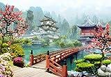 wandmotiv24 Fototapete Asien Dorf Japan XL 350 x 245 cm - 7 Teile Fototapeten, Wandbild, Motivtapeten, Vlies-Tapeten Bonsai-Baum, Kirschblüte, Fresko M1072