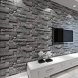baporee Stein-Tapete des Ziegelstein-3D gestapelt Moderne Wandverkleidung PVC-Rollen-Tapete-Ziegel-Wand-Hintergrund-Tapete grau für Wohnzimmer 5,3㎡ Dunkelgrau