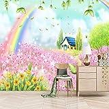 TDYNJJ Wandbild Vlies Fototapete - Regenbogen Hütten Blumen Pflanzen - Fototapete Kinderzimmer - Vliestapete Kinder - Vlies-Tapete Kinderzimmer Mädchen - Geschenk Dekoration