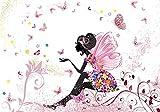 wandmotiv24 Fototapete Kinderzimmer Schmetterlingselfe, XL 350 x 245 cm - 7 Teile, Fototapeten, Wandbild, Motivtapeten, Vlies-Tapeten, Elfe,Schmetterling, Blumen, Rosa M0438