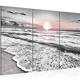 Runa Art Sonnenuntergang Strand Bild Wandbilder Wohnzimmer XXL Grau Rosa Landschaft 120 x 80 cm 3 Teilig Wanddeko 023731b