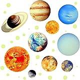 Veraing 9-Planeten Sonnensystem Wandsticker Leuchtaufkleber Fluoreszierend Wandaufkleber Hausdekoration Glänzend Wandaufkleber in der Nacht für Kinderzimmer