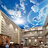 Fototapeten Benutzerdefinierte Tapete 3d große Decke Wandbild Regenbogen blauen Himmel Decke Zenit Wandbild Wohnzimmer Schlafzimmer Tapete Wandbild Dekoration